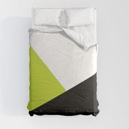 Trichromatic Black White Lime Color Block Comforters