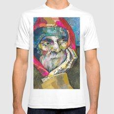Old man MEDIUM White Mens Fitted Tee