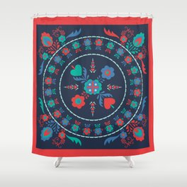 Folk Flowers with Red Border Shower Curtain