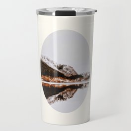 Mid Century Modern Round Circle Photo Graphic Design Reflective Mountain Lake Autumn Forest Travel Mug