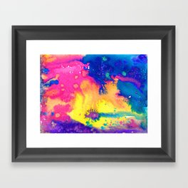 rainbow nebula - tie dye watercolor abstract Framed Art Print