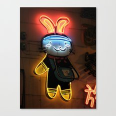 Neon Bunny  Canvas Print