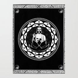Buddha Black & White Yin & Yang Flower Of Life Poster