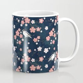 Navy blue cherry blossom finch Coffee Mug