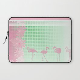 Baby Pink And Mint Green Flamingo Laptop Sleeve