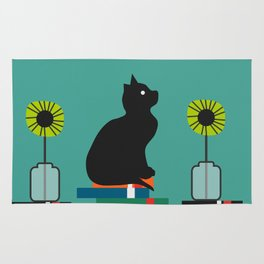 Cat, books and flowers Rug