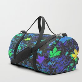 maple leaf in pink green purple blue yellow with blue creepers plants background Duffle Bag