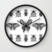 insects Wall Clocks featuring insects by Textile Candy