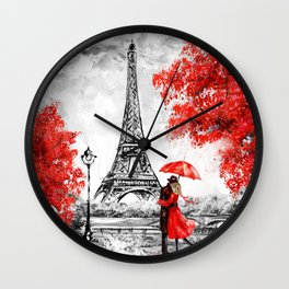 Eiffel tower. Beautiful France landscape Wall Clock