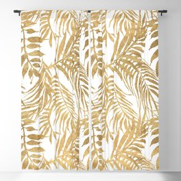 Elegant tropical gold white palm tree leaves floral Blackout Curtain