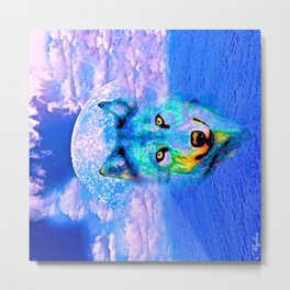 Wolf Moon and the Deep Blue Sea Metal Print