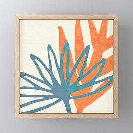 Mid Century Nature Print / Teal and Orange Framed Mini Art Print