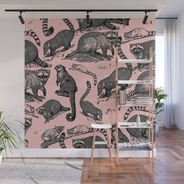 Vintage Woodland Forest Racoons & Critters - Pink Wall Mural