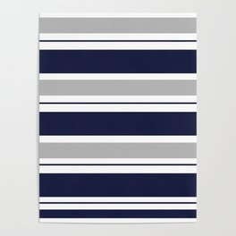 Navy Blue and Grey Stripe Poster