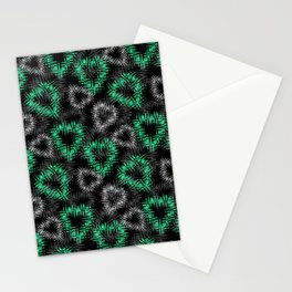 Broken heart . Black and green pattern . Stationery Cards