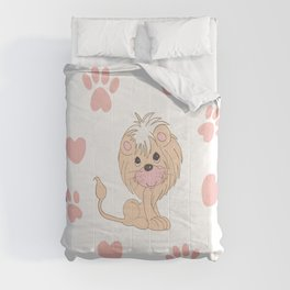 Cute Lion Cub with Paw Prints and Hearts Comforters