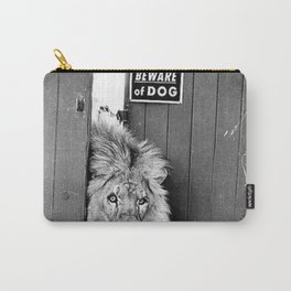 Beware of Dog black and white photograph of attack lion humorous black and white photography Carry-All Pouch
