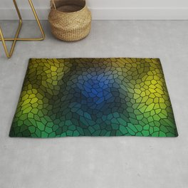 Volumetric texture of pieces of light blue glass with a dark mysterious mosaic. Rug