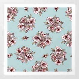 Light Blue Flower Pattern Pink Flowers Art Print