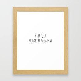 New York Coordinates Framed Art Print