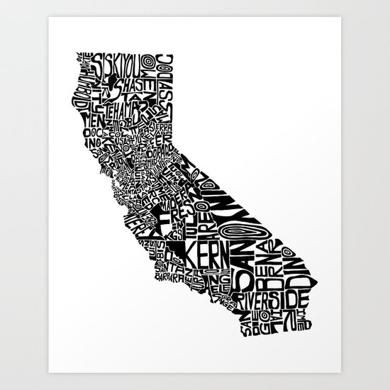 Typographic California Art Print
