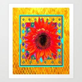 Southwestern Gold Sunflower Turquoise Art Design Art Print