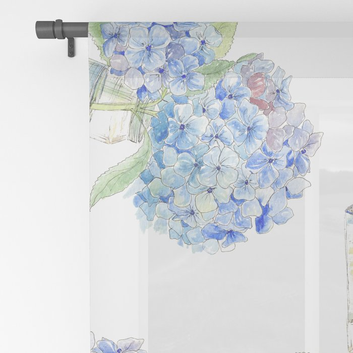 Blue Hydrangea, Still Life Sheer Curtain