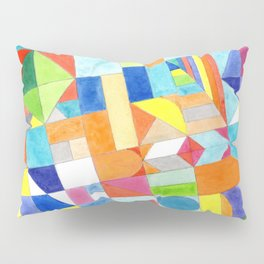 Playful Colorful Architectural Pattern Pillow Sham