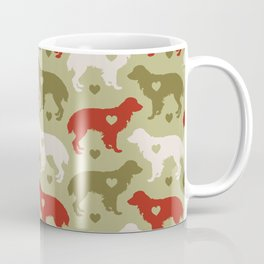 Valentine's dog surface pattern (green-red) Coffee Mug