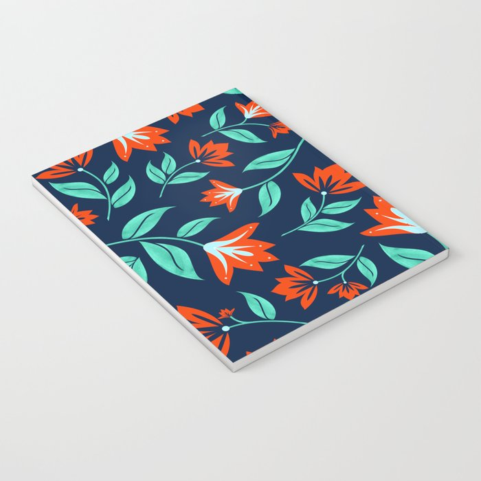 Japanese Floral Print - Red and Navy Blue Notebook