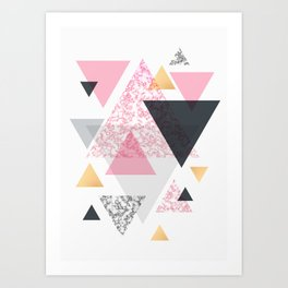 Multi Triangle - Rose Gold and Marble Art Print