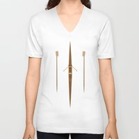 rowing V-neck T-shirts featuring rowing single scull by zenitt