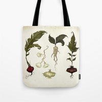 vegetables Tote Bags featuring Root Vegetables by Abigail Larson