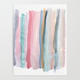 Watercolor stripe Poster