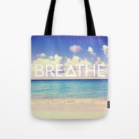 breathe Tote Bags featuring BREATHE by Good Sense