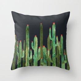 Cactus Four at night Throw Pillow