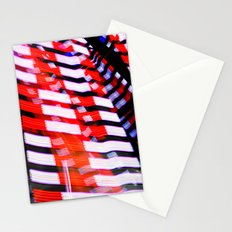 Abstract Red White and Blue Lights Stationery Cards