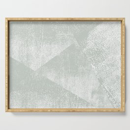 Gray Green and White Geometric Ink Texture Serving Tray