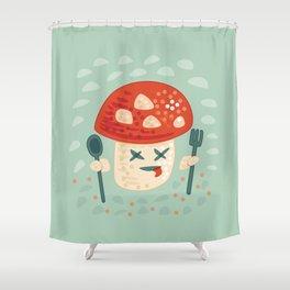 Funny Cartoon Poisoned Mushroom Shower Curtain