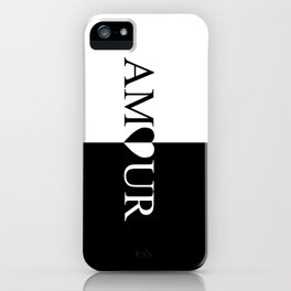 AMOUR LOVE Black And White Design iPhone Case