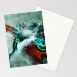 Surrealist and Abstract Painting in Turquoise and Orange Color Stationery Cards