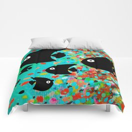 Cute Black Fish School Comforters