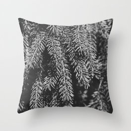 Branches of spruce full frame nature background. Throw Pillow