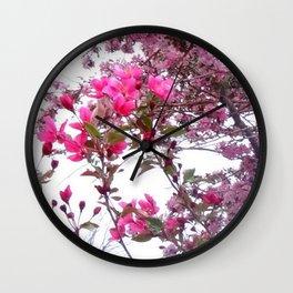 FLOWERING PINK CRABAPPLE TREES SPRING FLORAL Wall Clock