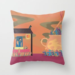 Children escaped from the temple Throw Pillow