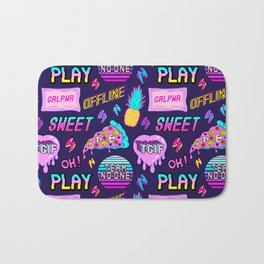 Colorful seamless pattern with patches: pineapples, pizza slices, hearts, etc #2 Bath Mat