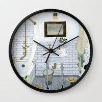 bathroom Wall Clocks featuring In The Bathroom by Yuliya