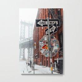 Street sign in snow near Manhattan Bridge Metal Print