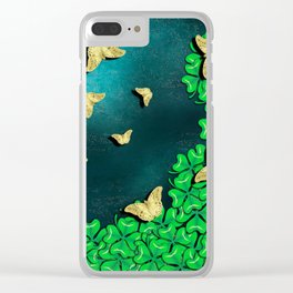 clover and butterflies Clear iPhone Case