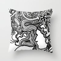 techno Throw Pillows featuring Techno by Madison R. Leavelle